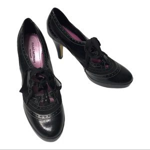 Isaac Mizrahi leather high heel lace up shoes, S 8